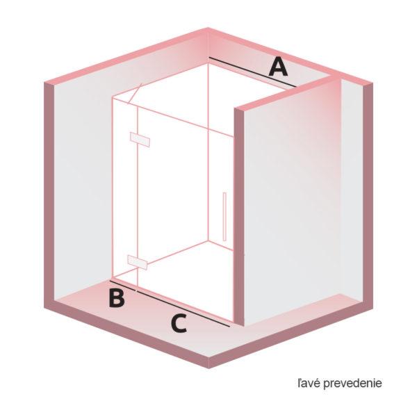 nákres DEEP krídlové dvere do niky ľavé | LOTOSAN kúpeľne