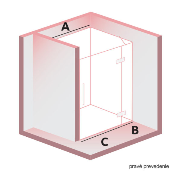 nákres DEEP krídlové dvere do niky pravé | LOTOSAN kúpeľne