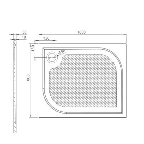 nákres_Drop_obdĺžniková vanička 80x100 cm   LOTOSAN kúpeľňa