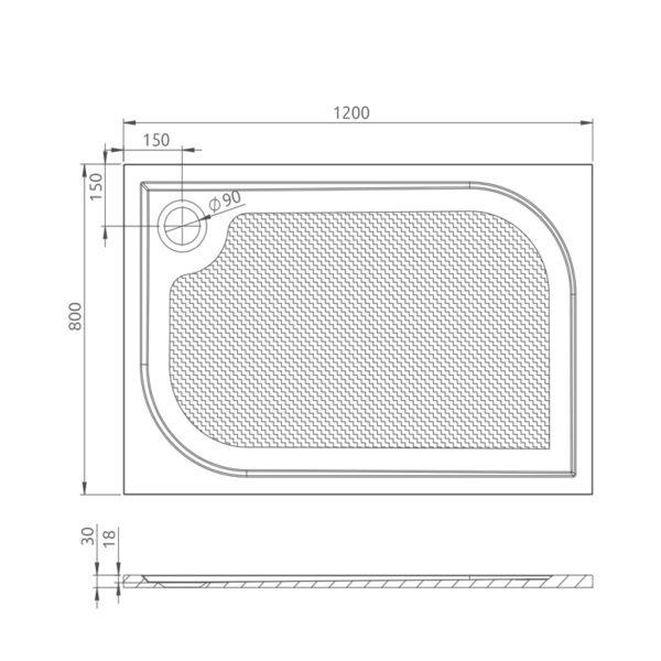 nákres_Drop_obdĺžniková vanička 80x120 cm   LOTOSAN kúpeľňa