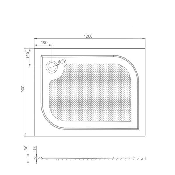 nákres_Drop_obdĺžniková vanička 90x120 cm   LOTOSAN kúpeľňa