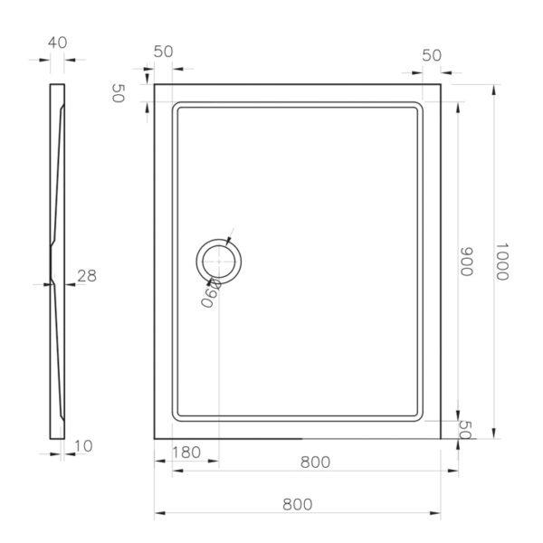 nákres GATE obdĺžniková vanička 90x100 cm | LOTOSAN kúpeľňa