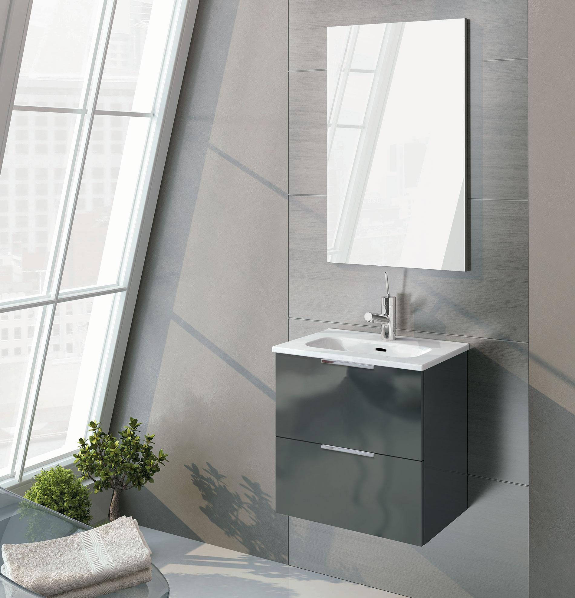 Set umývadlo + skrinka LILY 50 cm – Antracit lesklá 1
