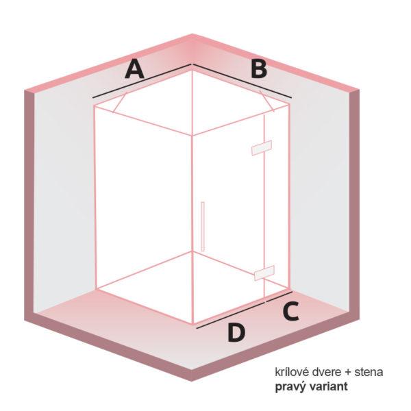 nákres DEEP Krídlové dvere + stena pravý | LOTOSAN kúpeľne