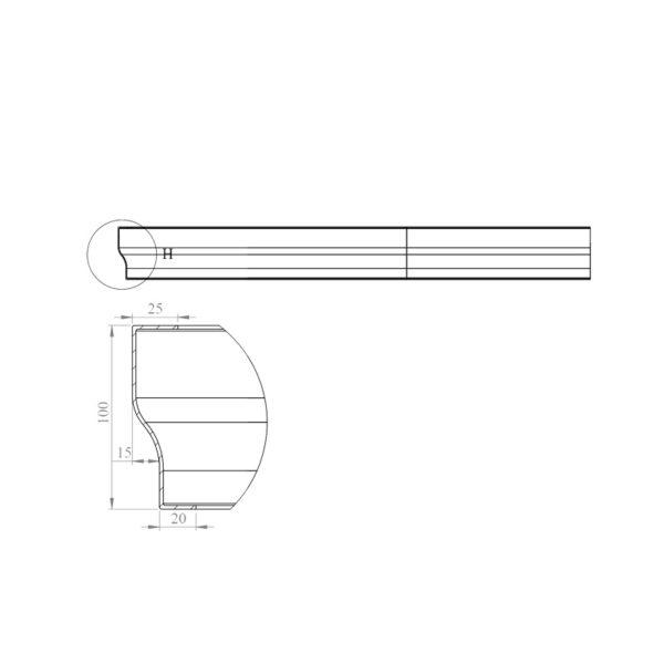 nákres panel k štvrťkruhovej vaničke | LOTOSAN kúpeľňa