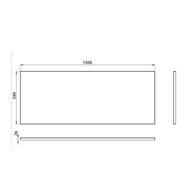 nákres predný panel k pravouhlej vani 150 cm | LOTOSAN kúpeľňa