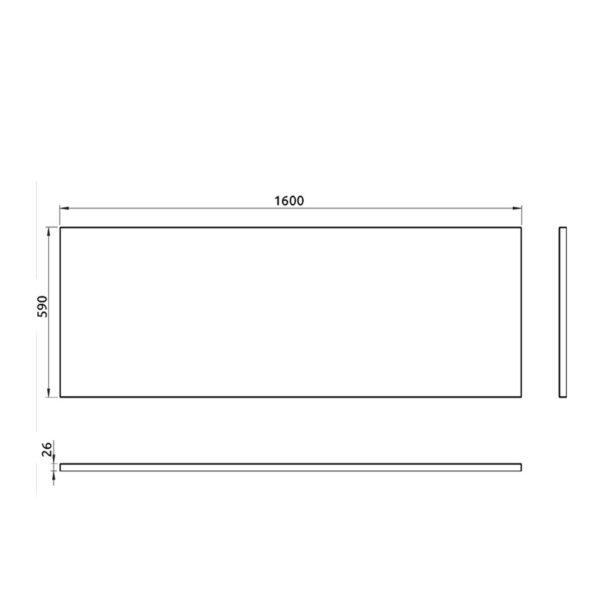 nákres predný panel k pravouhlej vani 160 cm | LOTOSAN kúpeľňa