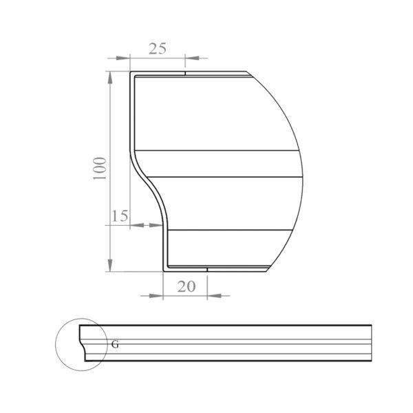 nákres čelný panel k štvorcovej vaničke 80 cm | LOTOSAN kúpeľňa