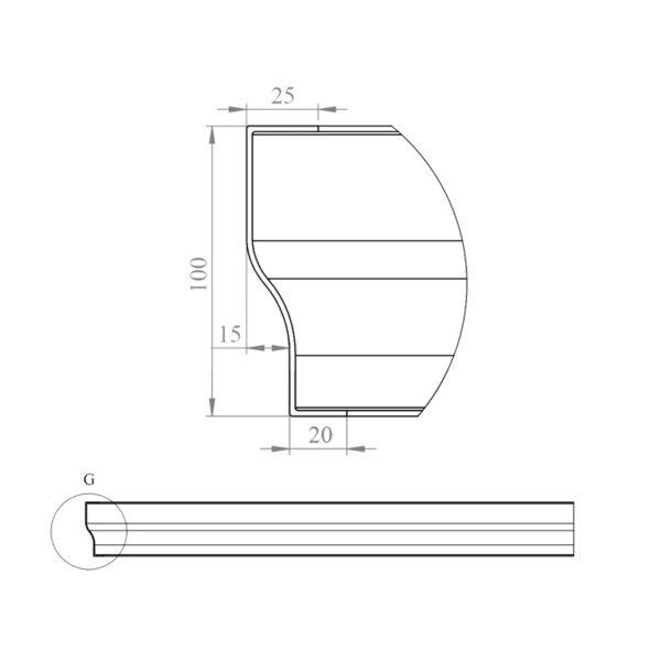 nákres čelný panel k štvorcovej vaničke 90 cm | LOTOSAN kúpeľňa