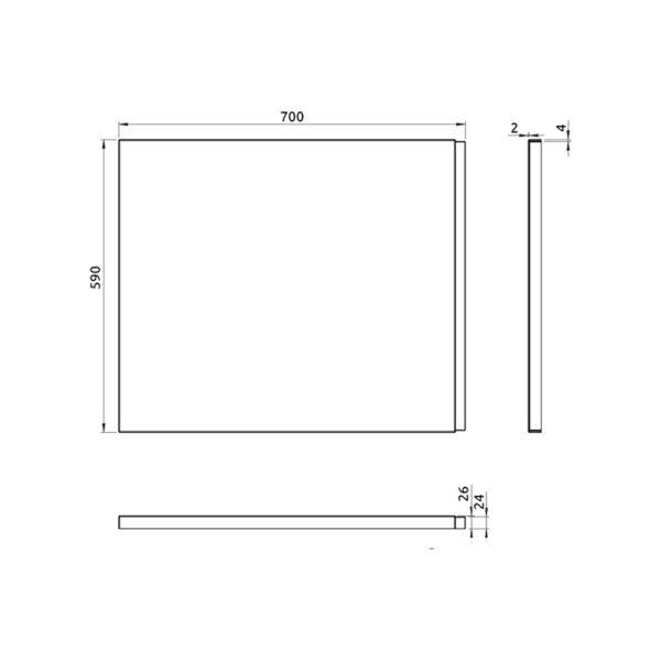 nákres bočný panel k pravouhlej vani 70 cm | LOTOSAN kúpeľňa