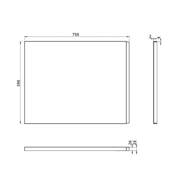 nákres bočný panel k pravouhlej vani 75 cm | LOTOSAN kúpeľňa