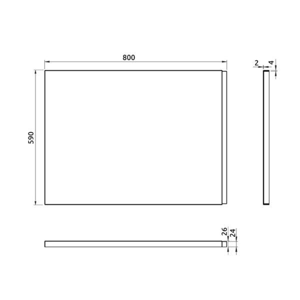 nákres bočný panel k pravouhlej vani 80 cm | LOTOSAN kúpeľňa