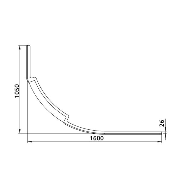 nákres panel k asymetrickej vani 1600 mm | LOTOSAN kúpeľňa