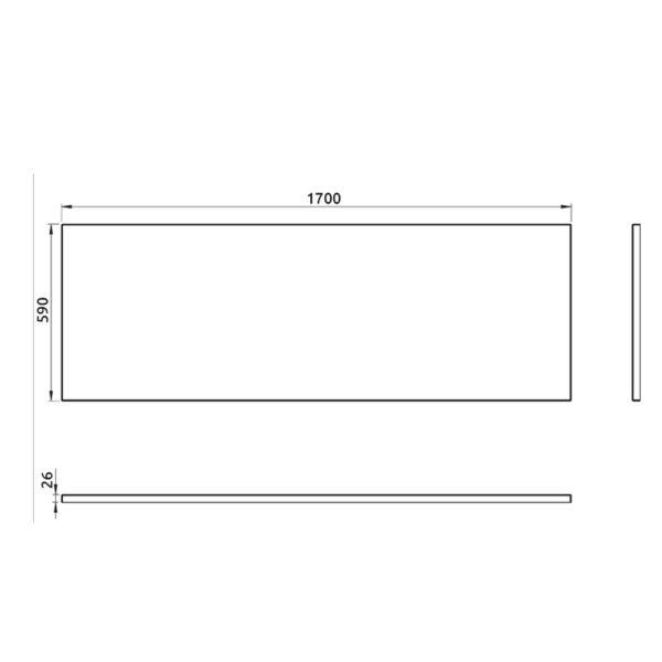 nákres predný panel k pravouhlej vani 170 cm | LOTOSAN kúpeľňa