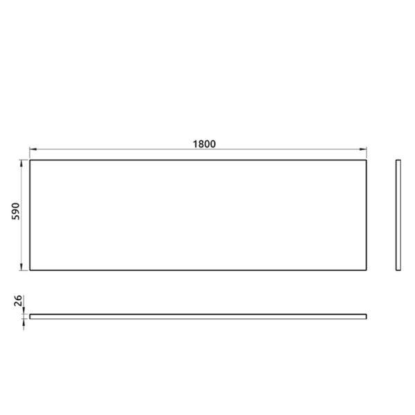 nákres predný panel k pravouhlej vani 180 cm | LOTOSAN kúpeľňa