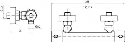 Termostatická sprchová batéria VIVIAN | LOTOSAN - technický nákres